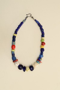 blue glass,bone,coral Ghana beads,tomato beads,Nigerian snake beads-17 inches