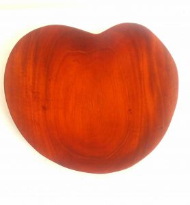 hand carved  mahogany heart tray