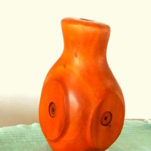 hand carved mahogany vase